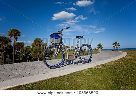 Rental bicycle tourism concept