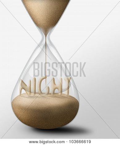 Hourglass With Night. Concept Of Passing Time Nad Expectations