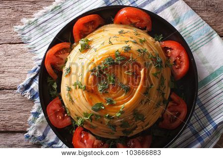French Timbale Of Pasta Close-up On A Plate. Horizontal Top View