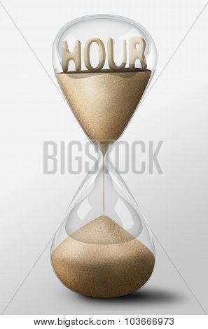 Hourglass With Hour Made Of Sand. Concept Of Time Passing