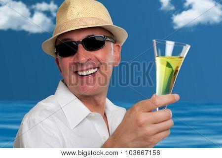Handsome happy man drinking champagne
