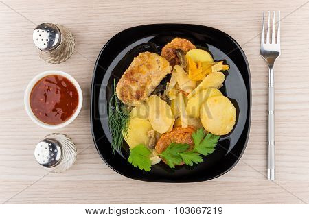 Vegetable Mix  With Cutlet In Plate, Salt, Pepper And Ketchup