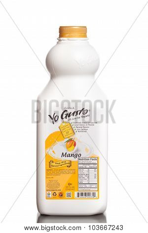 MIAMI, USA - JUNE 10, 2015: A bottle of Yo Gusto 2% low-fat yogurt mango flavored.