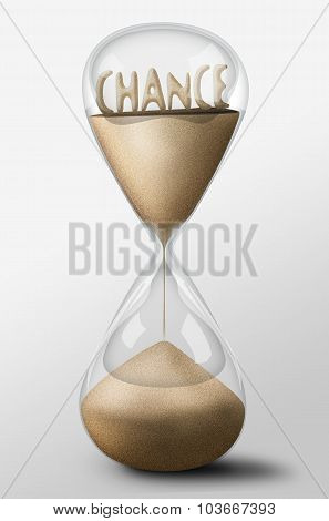 Hourglass With Chance Made Of Sand. Concept Of Uncertainty
