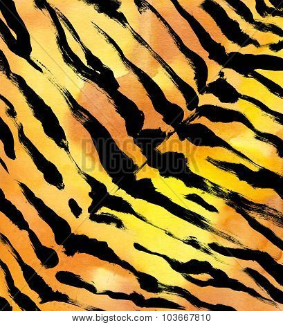 animal fur background. tiger skin abstract exotic fur watercolor hand drawn background. watercolor i