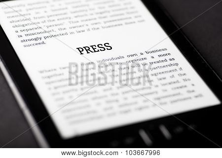 Press On Tablet Touchpad, Ebook Concept