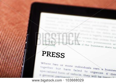 Press On Ebook, Tablet Concept