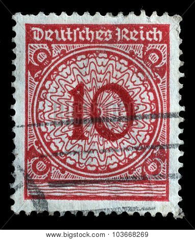 GERMANY - CIRCA 1924: A stamp printed in Germany shows 10 marks, circa 1924