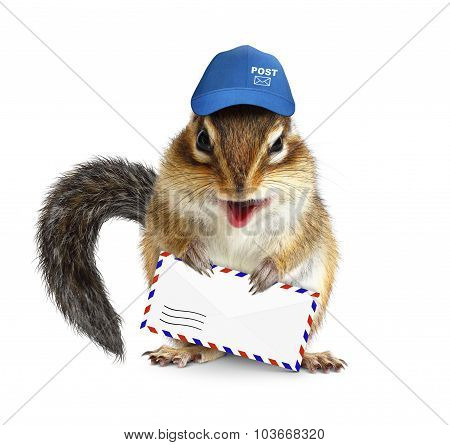 Funny Postman Chipmunk With Air Mail Letter