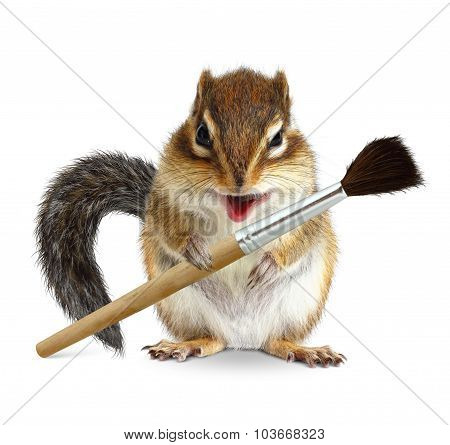 Funny Squirrel Painter With Brush, On White