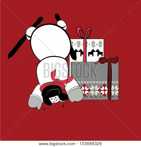 snowman with presents on red background