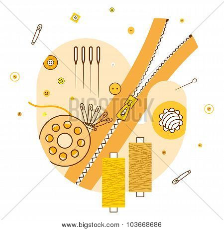 Abstract illustration with knitting and sewing accessories, yellow
