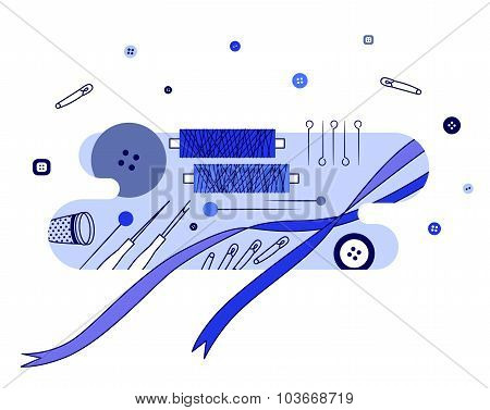 Abstract illustration with knitting and sewing accessories, blue