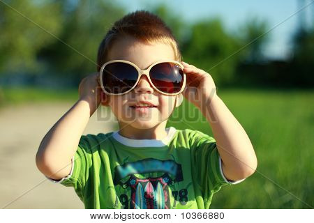 Boy In Sun Glasses And Sunny Summer