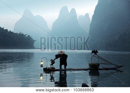 Chinese Man Fishing With Cormorants Birds, Traditional Fishing Use Trained Cormorants To Fish, , Chi