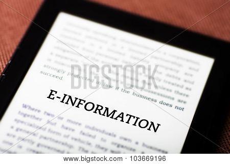 E-information On Ebook, Tablet Concept