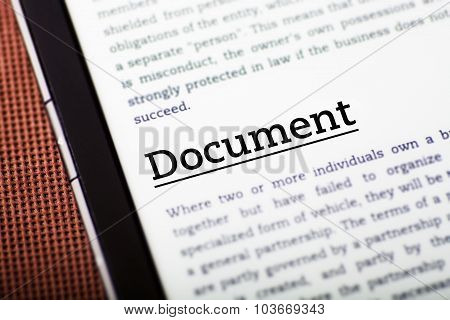 Document On Tablet Screen, Ebook Concept