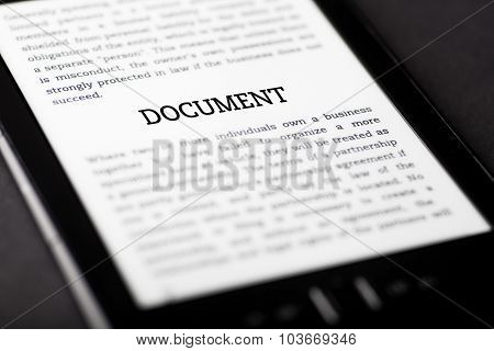 Document On Tablet Touchpad, Ebook Concept