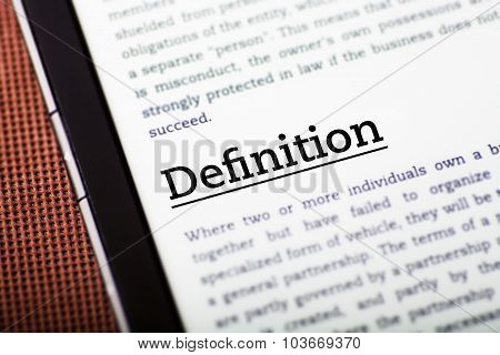 Definition On Tablet Screen, Ebook Concept