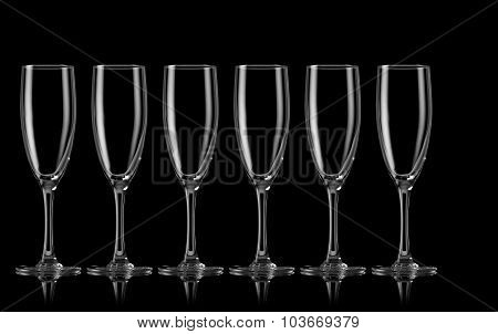 Champagne glasses in a row