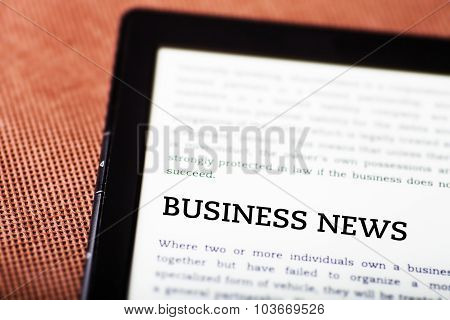 Business News On Ebook, Tablet Concept