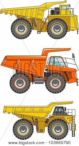 Off-highway trucks. Heavy mining trucks. Vector illustration.