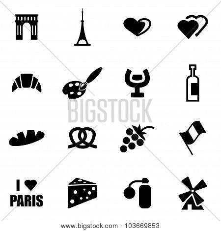 Vector Black Paris Icon Set