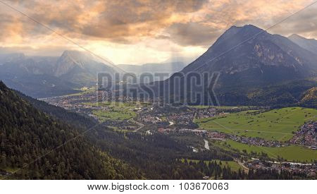 Sunset Scenery In The Bavarian Alps, View To Loisach Valley
