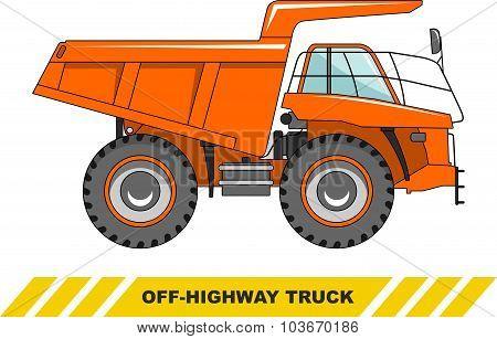 Off-highway truck. Heavy mining truck. Vector illustration.