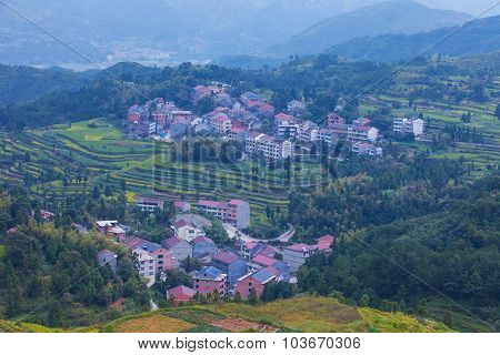 Wilage arroung terraced rice fields