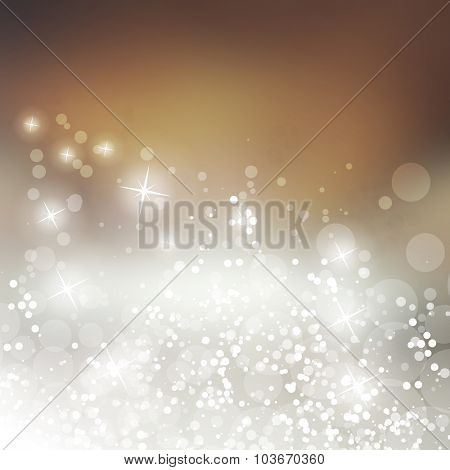 Sparkling Cover Design Template with Abstract, Blurred Background - Cover to Christmas, New Year or Other Designs
