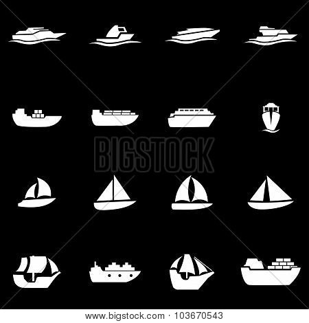 Vector White Ship And Boat Icon Set