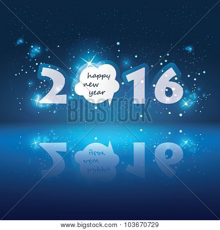 New Year Card with Sparkle Background and Speech Bubble - 2016