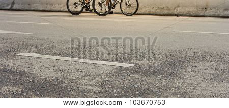 Image Of Asphalt Road And Bike With Sign For Background Usage.