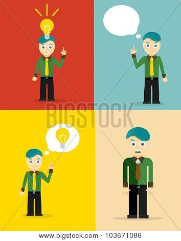 Young businessman thinking of his ideas. Set of flat design concepts. illustration