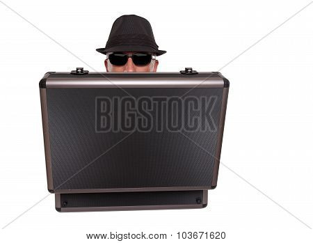 Man hiding behind a case