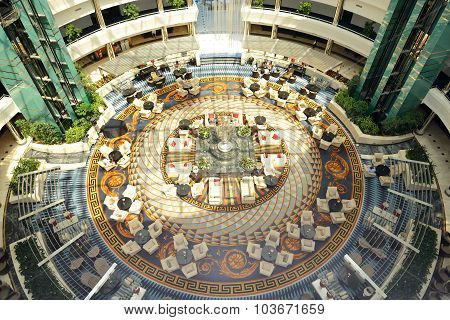 Antalya, Turkey - April 22: The Lobby Of Calista Luxury Resort Hotel With Versace Carpet On April 22