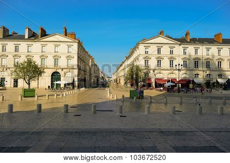 ORLEANS, FRANCE - AUGUST 12, 2015: streets of Orleans. Orleans is a city in north-central France. It is the capital of the Loiret department and of the Centre-Val de Loire region.