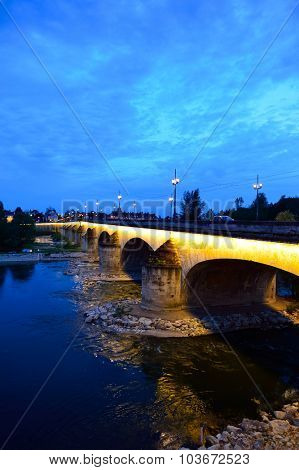 ORLEANS, FRANCE - AUGUST 11, 2015: The George V Bridge at evening. The George V Bridge is a road and tram bridge that crosses the Loire in Orleans, France.