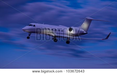 Side view of a private jet flying