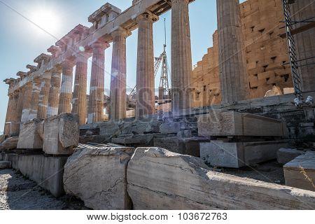 Columns of Parthenon in Athens, Greece