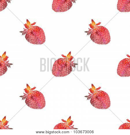 Strawberry. Seamless pattern with cosmic or galaxy strawberries. Hand-drawn original berry backgroun