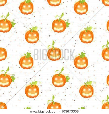 Happy Jack O Lanterns On  Dotted Backdrop Seamless Vector Pattern