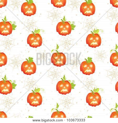 Sad Halloween Pumpkins On Dotted Backdrop With Spider Webs Seamless Vector Print