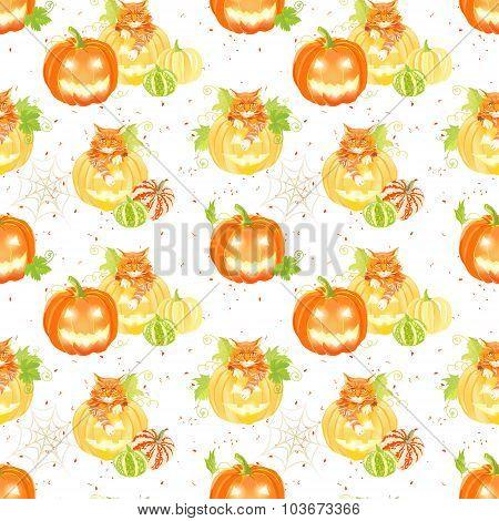 Decorative Halloween Pumpkins, Spider Web And Cats Seamless Vector Print