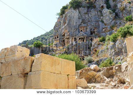 The Rock-cut Tombs In Myra, Antalya, Turkey
