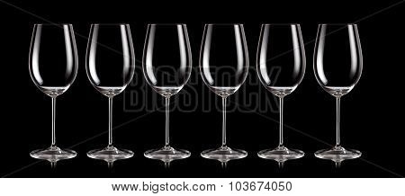 Group of wine glasses standing in a row