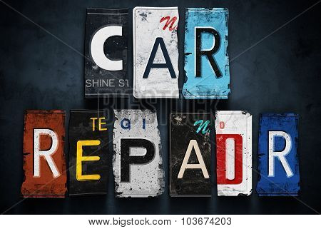 Car Repair Word On Vintage License Plates, Concept Sign
