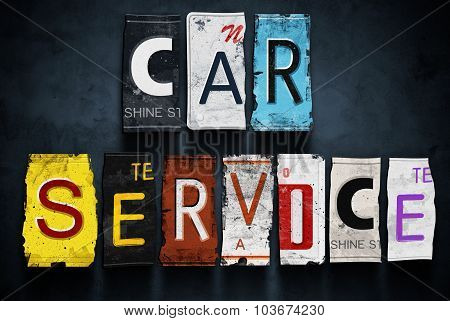 Car Service Word On Vintage License Plates, Concept Sign