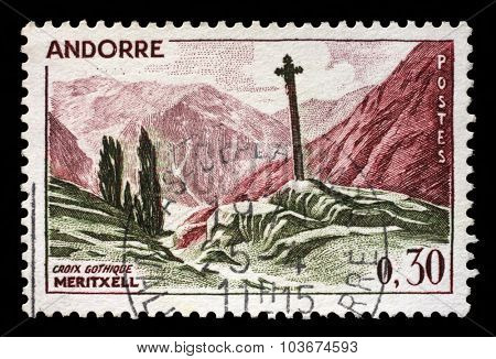ANDORRA - CIRCA 1961: a stamp printed in the Andorra shows Landscapes, Gothic cross of Maritxell, circa 1961.
